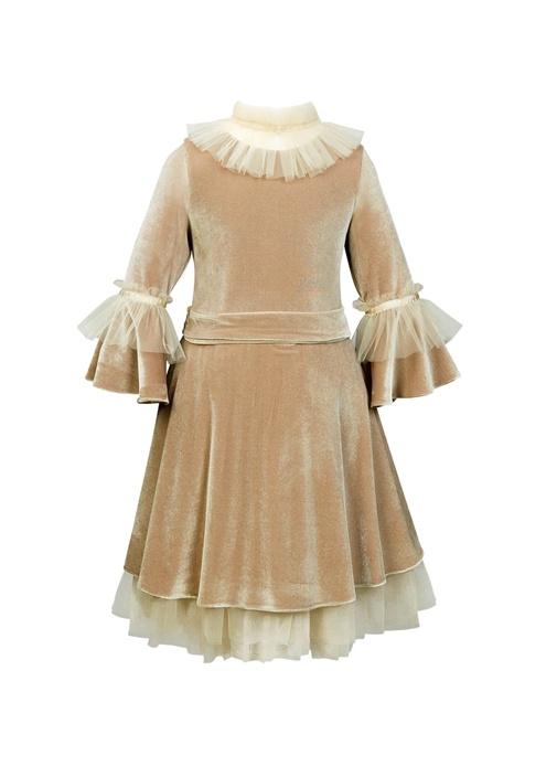 Mocha Royal Kadife Çocuk Elbise ve Saç Aksesuarı