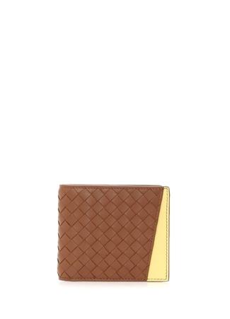 Bottega Veneta Erkek Kahve Sarı Colourblock Örgü Deri Cüzdan Kahverengi Ürün Resmi