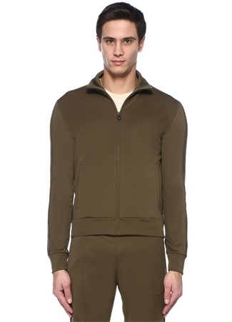 Bottega Veneta Erkek Haki Dik Yaka Kenarı Örgü Dokulu Sweatshirt Yeşil 52 I (IALY) Ürün Resmi