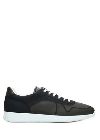 Erkek Lacivert Yeşil Örgü Dokulu Detaylı Sneaker 40 EU
