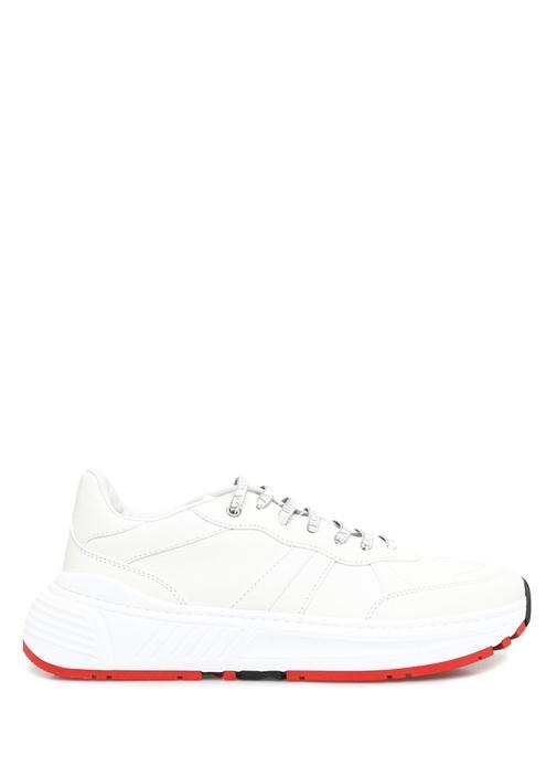 Beyaz Dikiş Detaylı Erkek Deri Sneaker