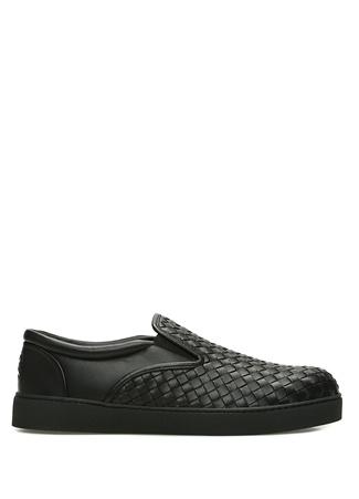 Bottega Veneta Erkek Siyah Örgü Dokulu Deri Sneaker 40 R Ürün Resmi