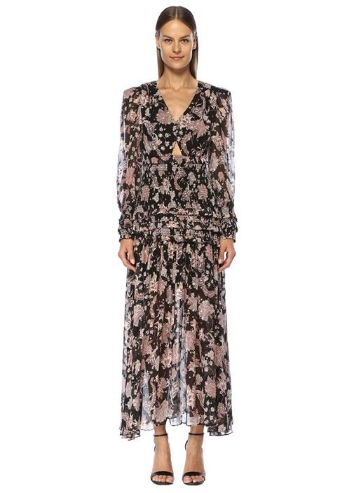 Harvest Moon Siyah Çiçekli Maksi İpek Elbise