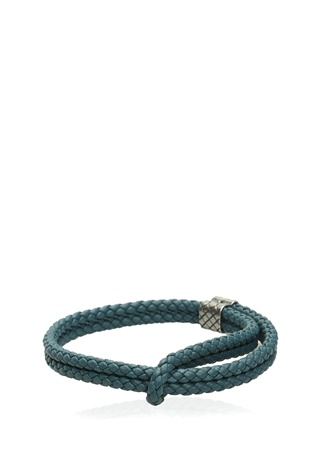 Bottega Veneta Erkek Mavi Örgü Dokulu İşlemeli Bileklik Ürün Resmi