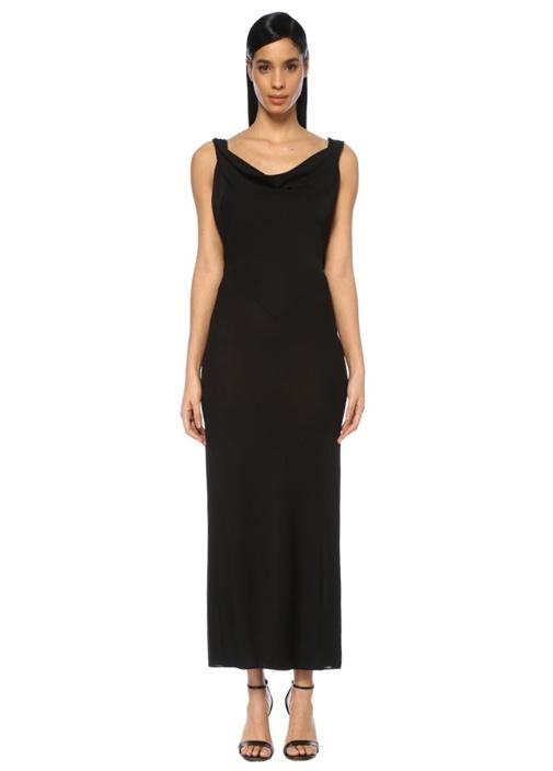 Siyah Degajeli Sırtı Açık Transparan Maksi Elbise