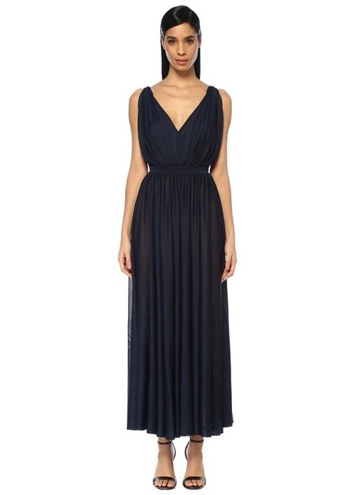 Alaıa Lacivert V Yaka Sırtı Açık Maksi Elbise – 20950.0 TL
