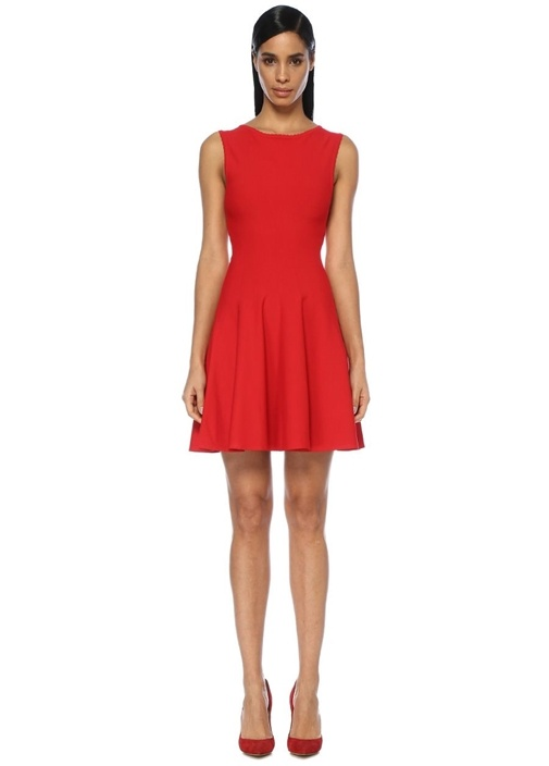 Kırmızı Sırtı Dekolte Detaylı Kolsuz Mini Elbise