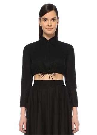 Siyah Klasik Yaka Beli Büzgü Detaylı Crop Gömlek