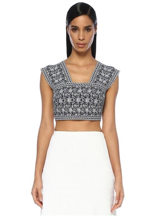 Lacivert Beyaz V Yaka Desenli Crop Bluz
