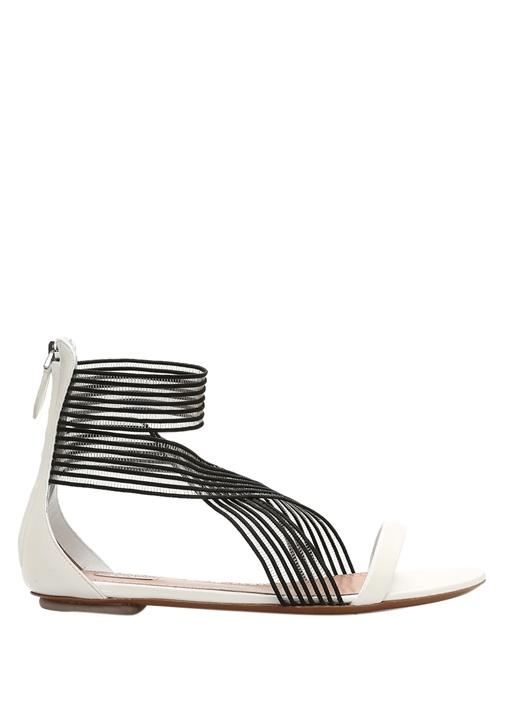 Siyah Beyaz İnce Bantlı Kadın Sandalet