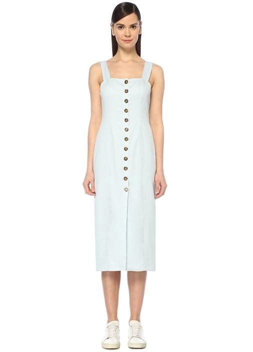 Juliet Mavi Kalp Yaka Önü Düğmeli Midi Elbise