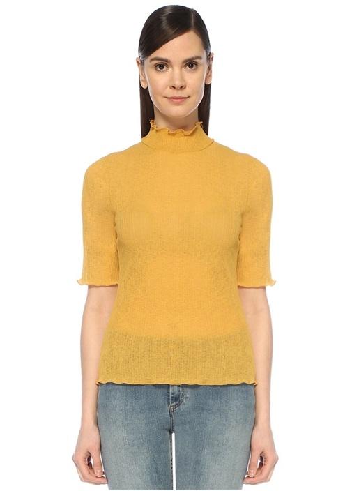 Hardal Dik Yaka Yarım Kol Transparan T-shirt