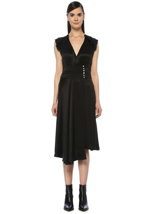 Coralie Siyah V Yaka Asimetrik Midi Anvelop Elbise