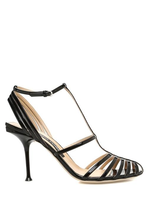 Siyah Bantlı Kadın Deri Sandalet
