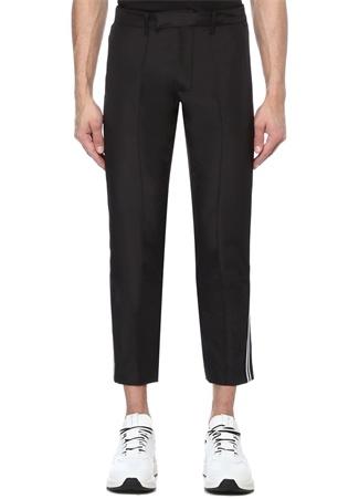 Siyah Normal Bel Şerit Logo Jakarlı Pantolon