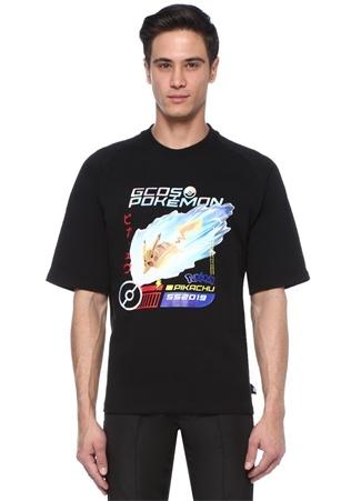 Siyah Bisiklet Yaka Pokemon Baskılı T-shirt