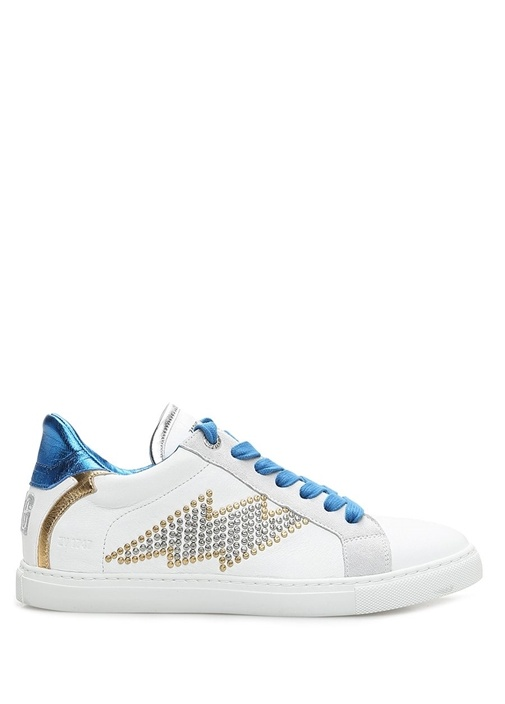 Flash Beyaz Troklu Kadın Deri Sneaker