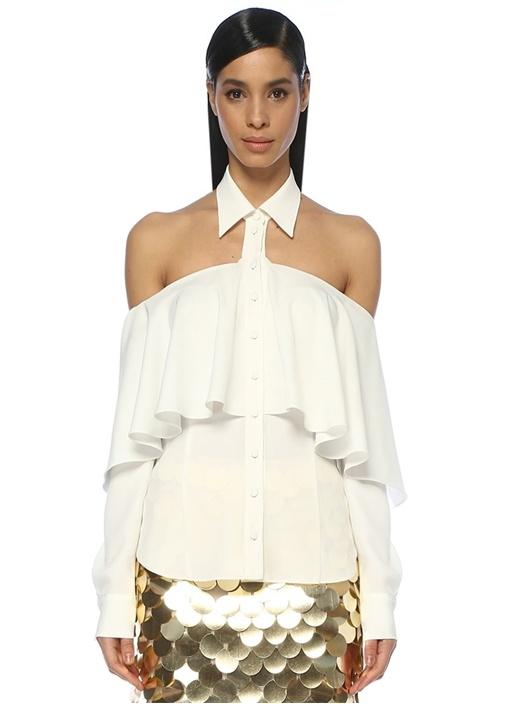 Beyaz Omzu Kesim Detaylı Drapeli Gömlek