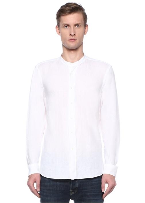 Beyaz Bisiklet Yaka Keten Gömlek