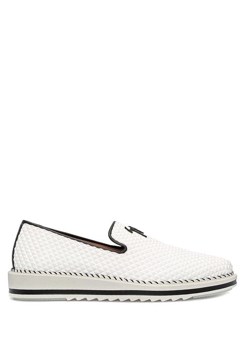 bbf1bf35e18ab Giuseppe Zanotti Beyaz ERKEK Beyaz Troklu Logolu Erkek Deri Ayakkabı ...