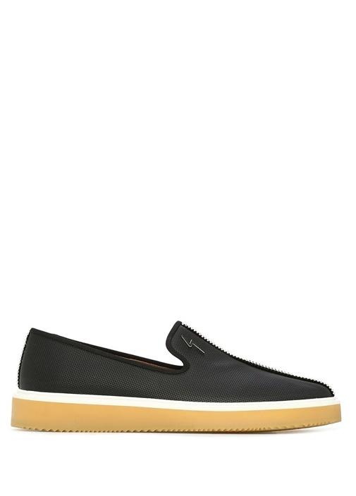 Siyah Mikro Desenli Logolu Erkek Deri Ayakkabı