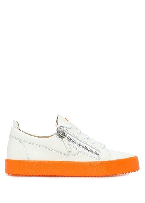FrankieFluo Beyaz Turuncu Erkek Deri Sneaker