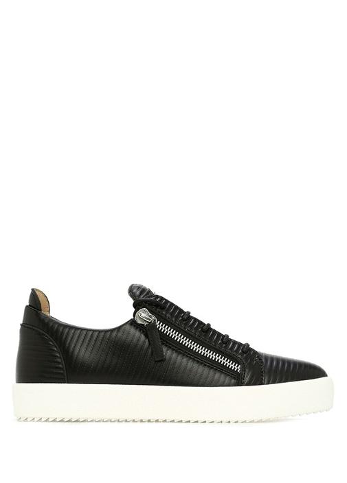 Frankie Siyah Çizgi Dokulu Erkek Deri Sneaker