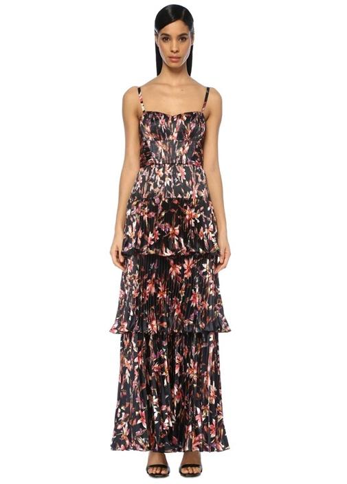 Londyn Siyah Kalp Yaka Çiçekli Pileli Maksi Elbise