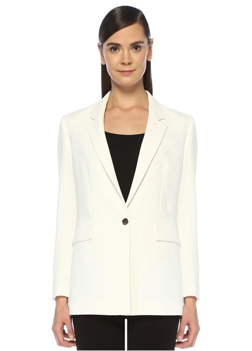 Beyaz Tek Düğmeli Krep Blazer Ceket