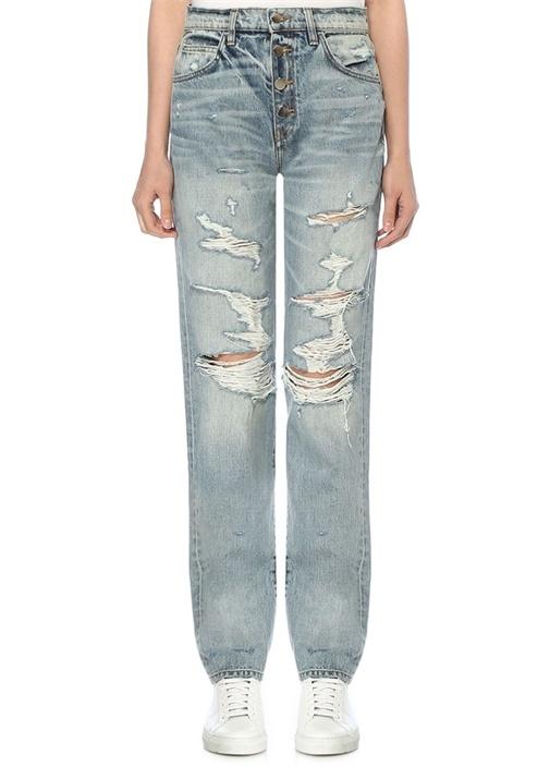 Slouch Yıpratma Detaylı Wide Leg Jean Pantolon