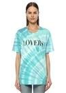 Lovers Turkuaz Batik Desenli Oversize T-shirt