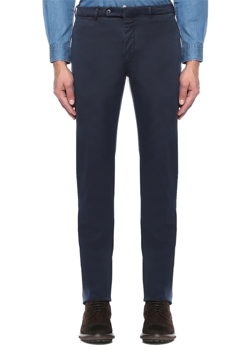 Lacivert Normal Bel Dar Paça Kanvas Pantolon