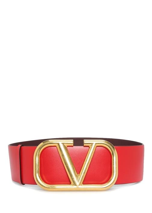 Kırmızı Gold Logo Tokalı Kadın Deri Kemer
