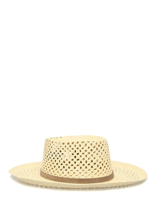 Bej Kemer Detaylı Kadın Hasır Şapka
