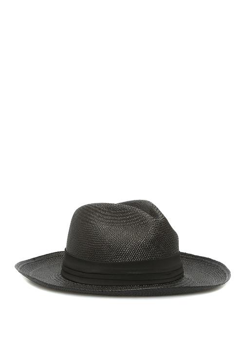 Siyah Bantlı El Yapımı Kadın Hasır Şapka