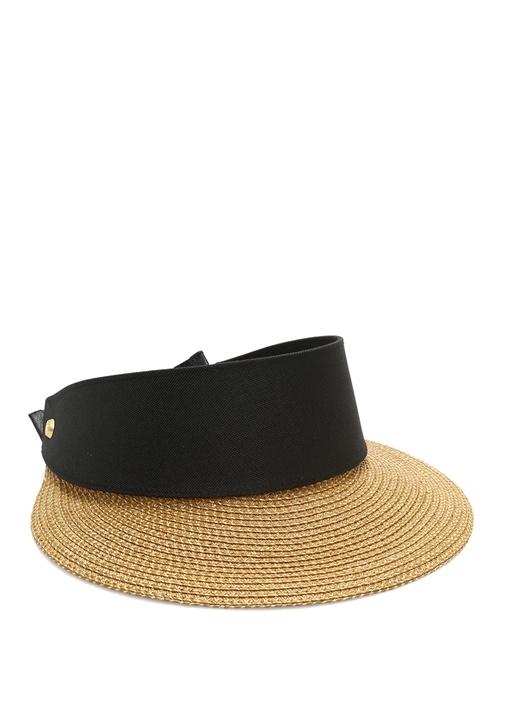 Bej Siyah Hasır Dokulu Kadın Şapka