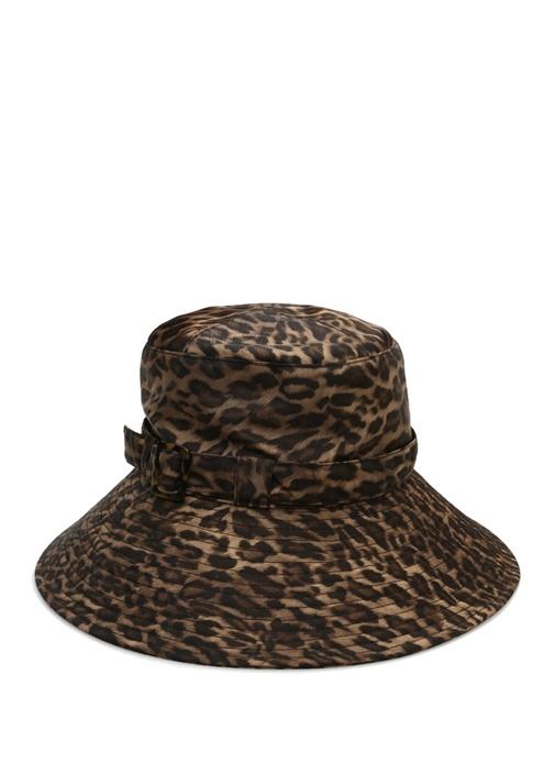 Kahverengi Leopar Desenli Kadın Şapka