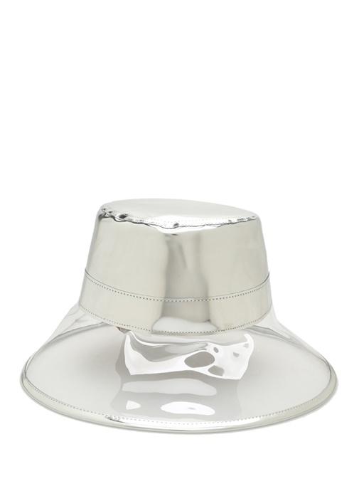 Silver Transparan Detaylı Parlak DokuluKadın Şapk