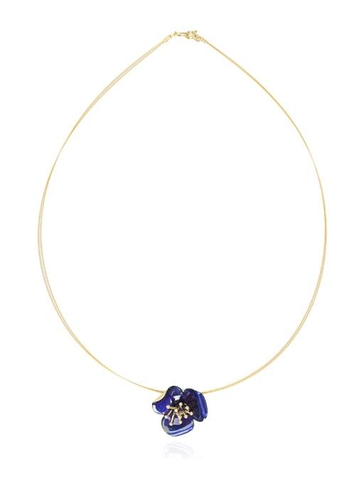 Gold Mavi Çiçek Formlu Kadın Kolye