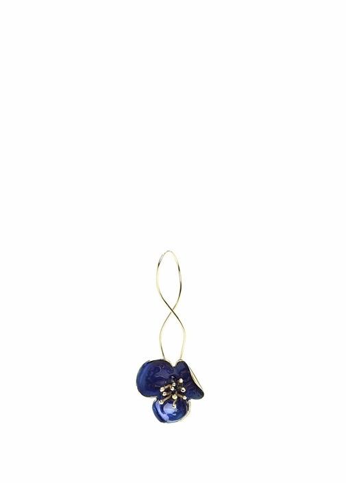 Lacivert Çiçek Formlu Kadın Küpe