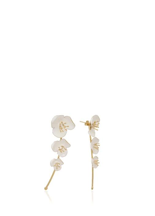 Beyaz Gold Çiçek Formlu Küpe
