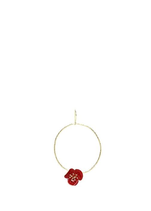 Gold Halka Formlu Kırmızı Çiçek DetaylıKadın Küpe