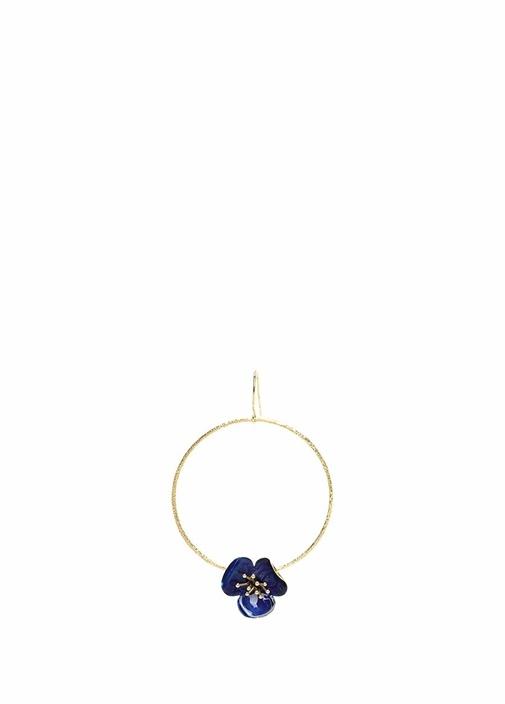 Gold Halka Formlu Mavi Çiçek Detaylı Kadın Küpe