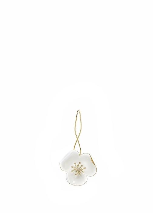 Beyaz Çiçek Formlu Kadın Küpe
