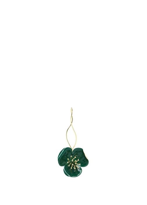Yeşil Çiçek Formlu Kadın Küpe