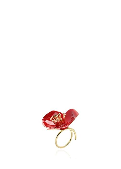 Gold Kırmızı Çiçek Formlu Kadın Yüzük