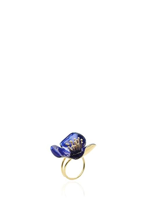 Gold Lacivert Çiçek Formlu Kadın Yüzük