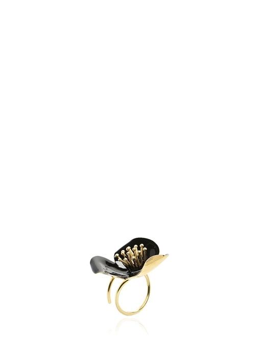 Gold Siyah Çiçek Formlu Kadın Yüzük