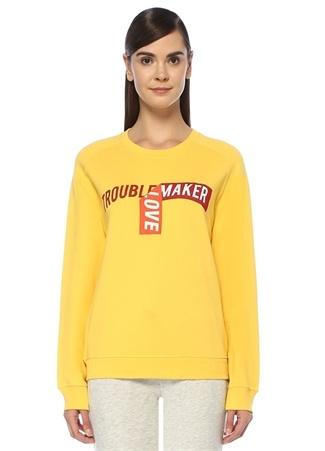 Kadın Trouble Maker Sarı Baskılı Reglan Kol Sweatshirt M EU