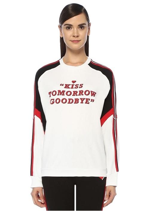 Siyah Beyaz Yazı Baskılı Kolu Şeritli Sweatshirt
